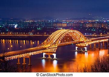 Banghwa bridge at night, Korea.