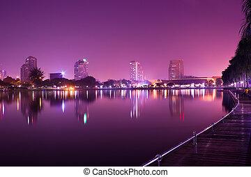 bangkok, à, crépuscule, temps