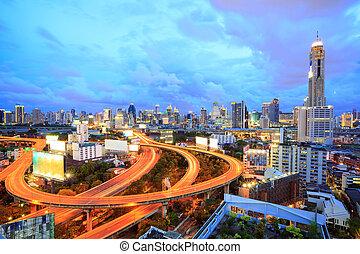bangkok, śródmieście, na, zmierzch