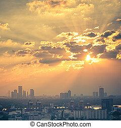 bangkok , ηλιοβασίλεμα , γραφικός