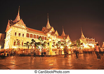 bangkok , μεγαλείτερος , παλάτι , νύκτα , έλξη , thailand., ...