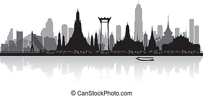 bangkok , σιάμ , γραμμή ορίζοντα απεικονίζω σε σιλουέτα ,...