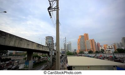 BANGKOK 2 August 2014 Labourers work on a high rise city...