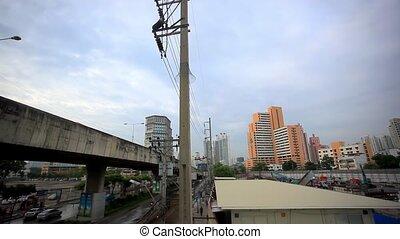 BANGKOK 2 August 2014 Labourers work on a high rise city...