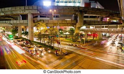 bangkok, 2, verkehr, timelapse