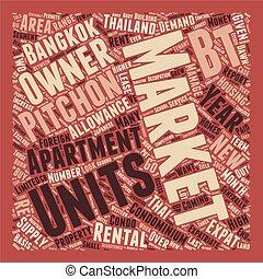 bangkok, alquiler, mercado, thrives, texto, plano de fondo,...