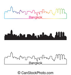 bangkok, arcobaleno, stile, orizzonte, lineare