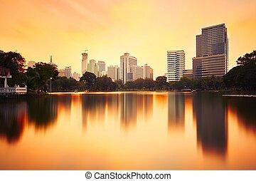 Bangkok skyline at the sunset - Thailand