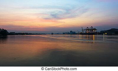 bangkok, aube, industriel, port, expédition