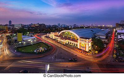 bangkok , bangkok., hua, αυτό , βρήκα , θέση , thailand., lamphong, σιδηρόδρομος , κύρια , κέντρο