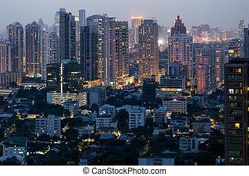 bangkok, belváros, éjszaka
