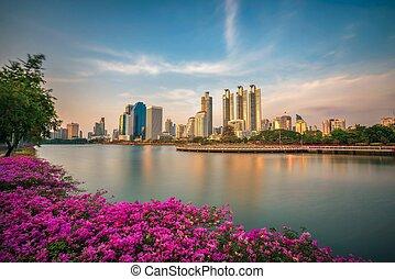 bangkok, benjakitti, liget, tó, ratchada, thaiföld, helyezkedő