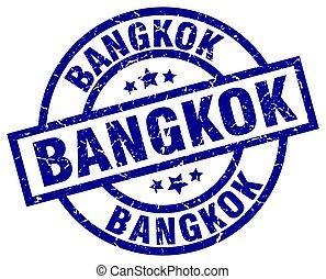 Bangkok blue round grunge stamp