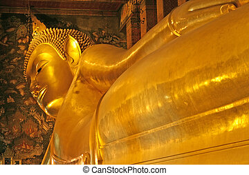 bangkok, bouddha étendu
