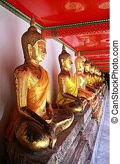 bangkok, buddha, po, wat, estatuas