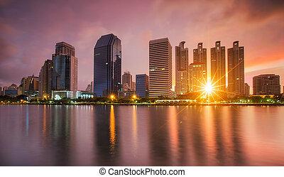 bangkok, cidade, centro cidade, noturna