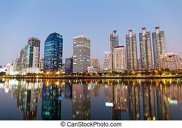 bangkok, cidade, noturna