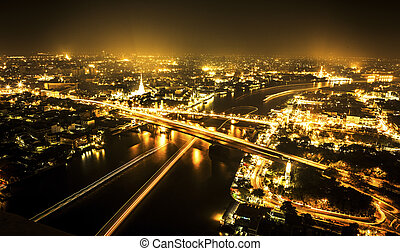 bangkok, cidade, noturna, tailandia
