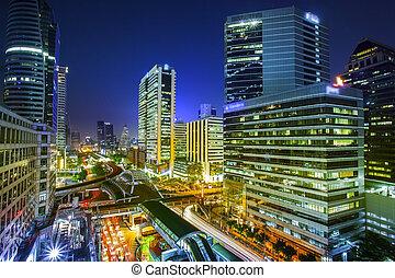 bangkok, cidade, noturna, vista