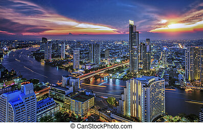 bangkok, città, tempo notte