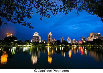 Bangkok city at night view