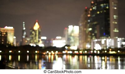 Bangkok City At Night With Bokeh Background