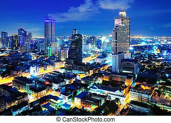 Bangkok city at twilight beside express way(Autobahn), ...