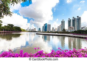 Bangkok city downtown and business district cityscape