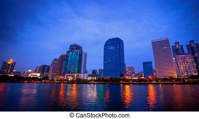 Bangkok city downtown Day to Night time lapse, Thailand
