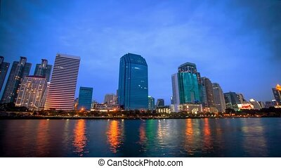 Bangkok city downtown Day to Night time lapse, Thailand.