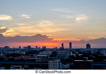 Bangkok city in sunset
