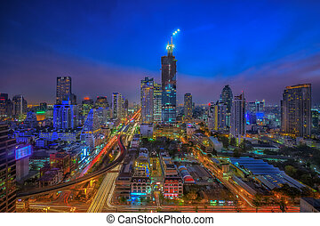 Bangkok city night view with main traffic