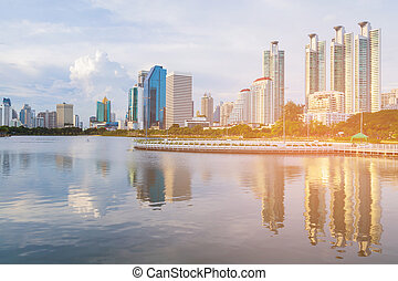 Bangkok city office building with reflection
