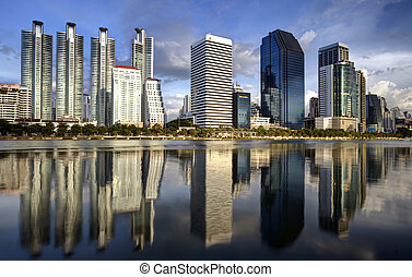 Bangkok city town and the water park