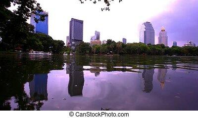 Bangkok city view. Public Garden. - Bangkok city view....