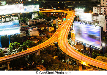 Bangkok city with main traffic at night