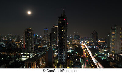 Bangkok cityscape at night, Thailand