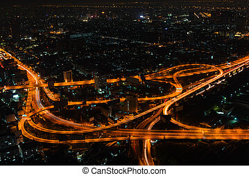 Bangkok Cityscape at Night with Complex Highway Junction -...