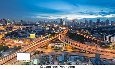 Bangkok cityscape downtown with highway intersection