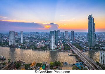 bangkok, cityscape, fiume, tramonto, paesaggio