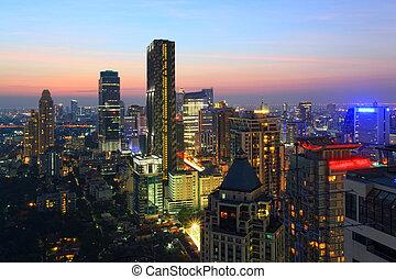 bangkok, cityscape, láthatár