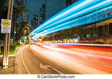 bangkok cityscape of light trails