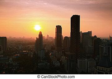 bangkok, cityscape, orizzonte, tramonto