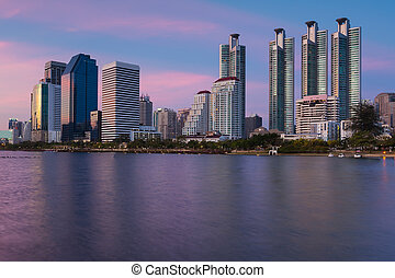 bangkok, cityscape, refle, tramonto