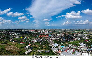 bangkok, ciudad, en, vista aérea