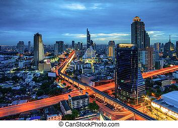 bangkok, ciudad, noche, vista