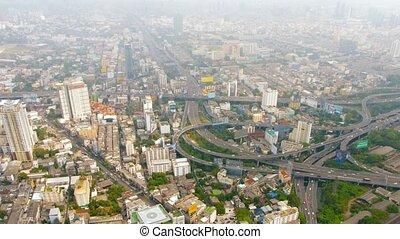 bangkok, commandant, jonction, en ville, thaïlande, cityscape, autoroute