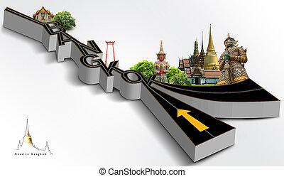 bangkok, concepto, camino