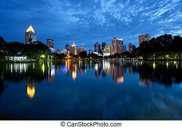 bangkok, contorno, escena, noche
