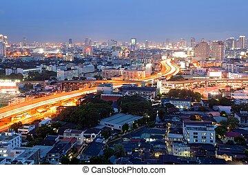 bangkok, dowtown, na, zmierzch